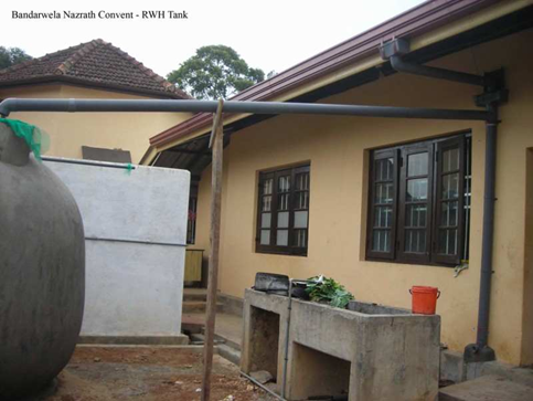 Gutters and pipe in a roof water harvesting system