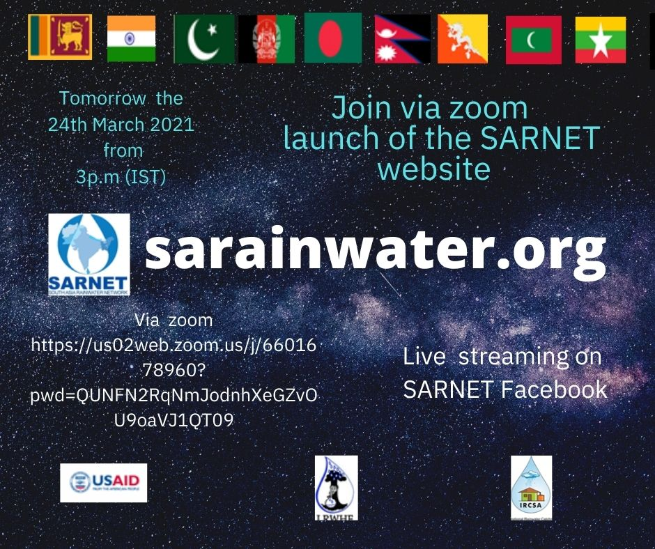 """South Asia Rainwater Harvesting Network (SARNET) launches the website taking on the theme of this year's international water day """"valuing water."""""""