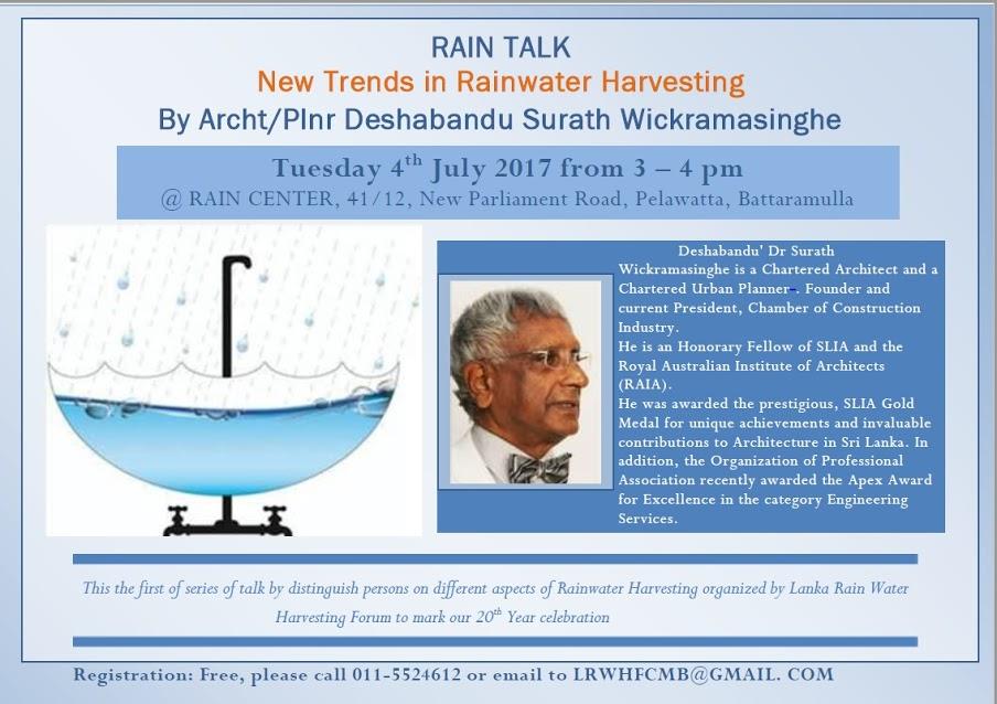 "Rain Talk ""New Trends in Rainwater Harvesting"""